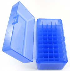 FS Reloading Plastic Ammo Box Medium Rifle 50 Round Translucent Blue