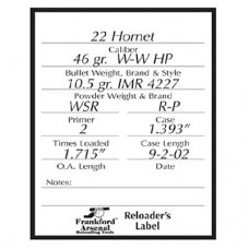 Frankford Arsenal Pistol and Rifle Reloader's Labels - 100 Pack