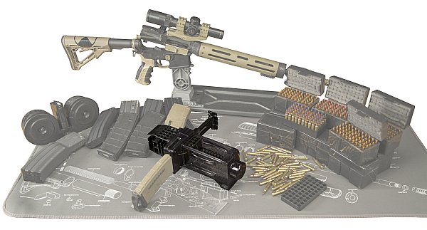Caldwell AR-15 Mag Charger with ammo, magazines and AR-15 rifle