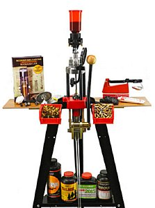 Lee Precision Reloading Stand set up complete with press and accessories