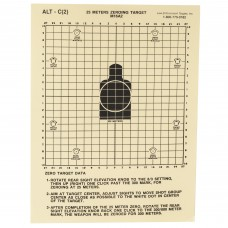 Action Target 25 Meter M16A2 Zeroing Target, Heavy Tagboard Paper, 100 Per Box ALTC(2)-100