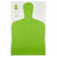Action Target B-27E High Visibility Target, Fluorescent Green, Silhouette Cut Off Below Ring 7, 23