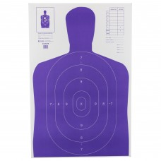 Action Target b-27E High Visibility Target, Fluorescent Purple, Silhouette Cut Off Below Ring 7, 23