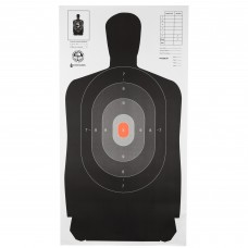 Action Target B-27 North Carolina Criminal Justice Academy Target, Shaded Scoring Rings Starting Outside And Going Dark To Light With A Bright Orange Center, 24