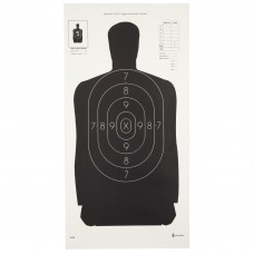 Action Target B-29 Qualification Target, 50 Foot Reduction Of B-27 Police Silhouette, Black, 11.5