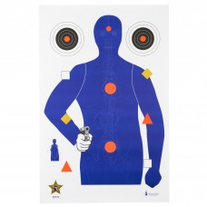 Action Target SSO-99, Sheriff's Office Sarasota Co. (FL) Modifies B21E Target With Vital Anatomy, Blue/Red/Gold/Black, 23