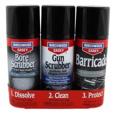 Birchwood Casey 1-2-3 Aerosol Value Pack, 10 oz 2-Bore Scrubber, 2-Gun Scrubber, 2-Barricade Aerosol Can