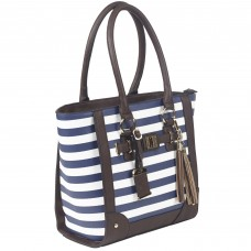 Bulldog Cases Tote Purse Holster, Fits Most Small Autos, Navy Blue and White Stripe Color, Leather BDP-050