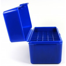 FS Reloading Plastic Ammo Box Small Rifle 50 Round Solid Blue