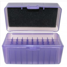 FS Reloading Plastic Ammo Box Small Rifle 50 Round Translucent Purple Scratched