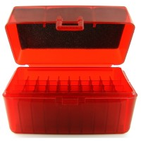 FS Reloading Plastic Ammo Box Small Rifle 50 Round Translucent Red