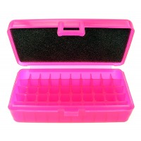 FS Reloading Plastic Ammo Box Small Pistol 50 Round Translucent Pink