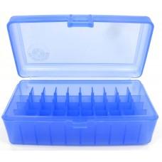 FS Reloading Plastic Ammo Box Large Pistol 50 Round Translucent Blue