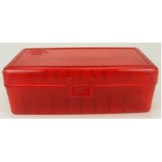 FS Reloading Plastic Ammo Box Large Pistol 50 Round Translucent Red
