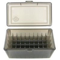 FS Reloading Plastic Ammo Box Large Rifle 50 Round Translucent Smoke