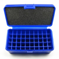 FS Reloading Plastic Ammo Box Medium Pistol 50 Round Solid Blue