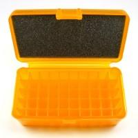 FS Reloading Plastic Ammo Box Medium Pistol 50 Round Translucent Amber