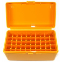 FS Reloading Plastic Ammo Box Medium Rifle 50 Round Solid Amber