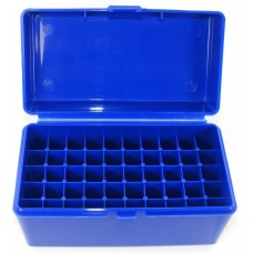 FS Reloading Plastic Ammo Box Medium Rifle 50 Round Solid Blue