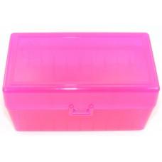 FS Reloading Plastic Ammo Box Medium Rifle 50 Round Translucent Pink