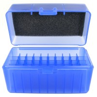 FS Reloading Plastic Ammo Box Small Rifle 50 Round Translucent Blue