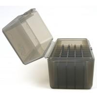 FS Reloading Plastic Ammo Box Small Rifle 50 Round Translucent Smoke