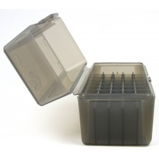 FS Reloading Plastic Ammo Box Small Rifle 50 Round Translucent Smoke