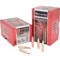 "Hornady ELD Match Bullets 6.5mm .264"" Diameter 147 Grain  Polymer Tip Boat Tail box of 100"