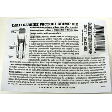 Lee Precision Carbide Factory Crimp Die Instructions 45 Colt