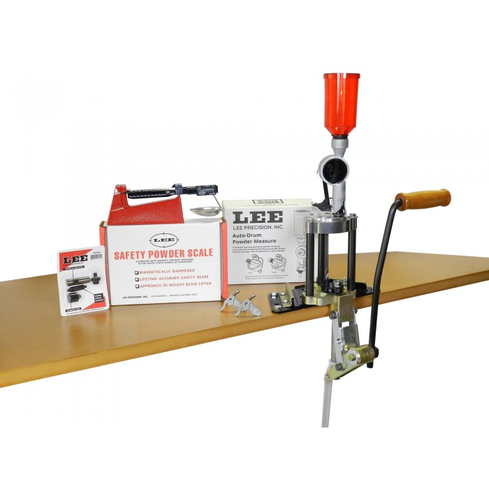 # 90928 LEE Value 4 Hole Turret Press KIT w// NEW Auto Drum Powder Measure New