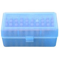 MTM Case-Gard Hinge Top Blue Ammo Box 50 Rounds 270 WSM, 375 Win, 450 Marlin, 50-110 Win