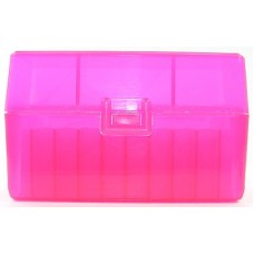 FS Reloading Plastic Ammo Box Small Rifle 50 Round Translucent Pink