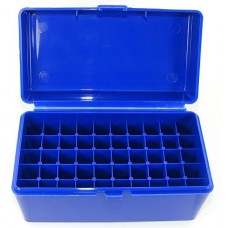 FS Reloading Plastic Ammo Box Large Rifle 50 Round Solid Blue