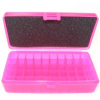 FS Reloading Plastic Ammo Box Automatic Pistol 50 Round Translucent Pink