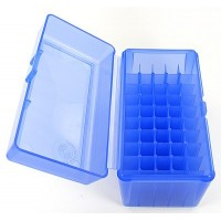 FS Reloading Plastic Ammo Box Large Rifle 50 Round Translucent Blue