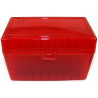 FS Reloading Plastic Ammo Box Large Rifle 50 Round Translucent Red