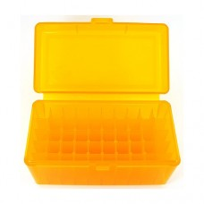 FS Reloading Plastic Ammo Box Medium Rifle 50 Round Translucent Amber