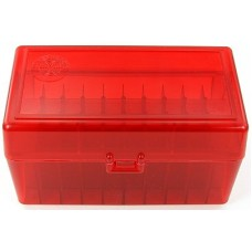 FS Reloading Plastic Ammo Box Medium Rifle 50 Round Translucent Red