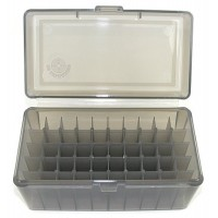 FS Reloading Plastic Ammo Box Medium Rifle 50 Round Translucent Smoke