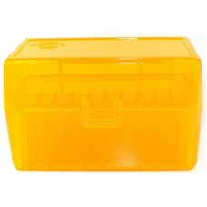 FS Reloading Plastic Ammo Box Small Rifle 50 Round Translucent Amber