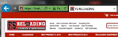 FS Reloading home page showing EVSSL Green Bar