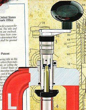 Lee Precision Deluxe Quick Trim Case Trimmer installed in a Lee Precision Quick Trim Die on a Lee Precision Breech Lock Challenger press